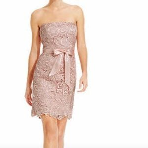 Adriana Papell Strapless Lace Sheath Dress